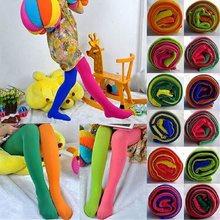 Cukierki kolor mieszane rajstopy dla dziewczynek Patchwork dziecięce spodnie ze strechu spodnie obcisłe dzieci taniec rajstopy Stocking 3-9Y