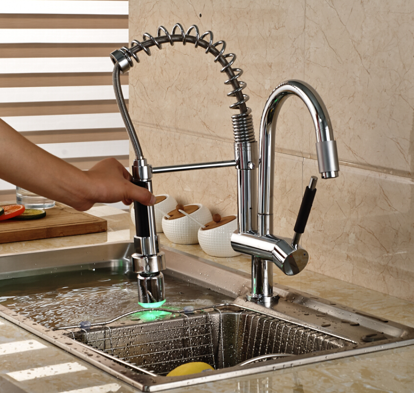 Newly LED Color Changing Deck Mount Kitchen Faucet Single Handle Dual Spout Kitchen Mixer Tap Chrome Finish
