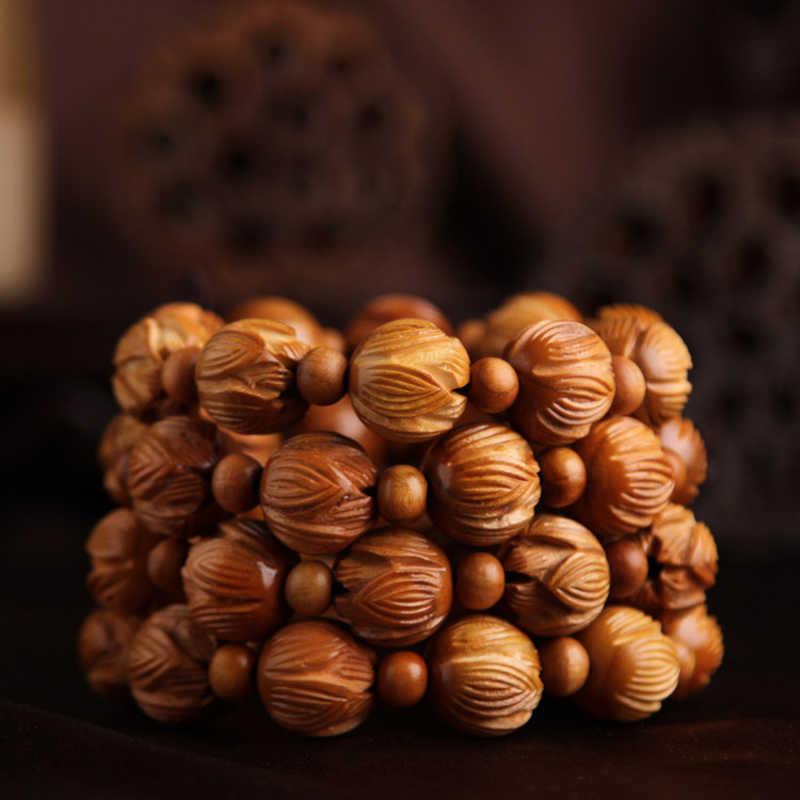 Lotus sculpté acajou 12 bracelet naturel national vent bracelet de sécurité perlage
