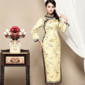 New Arrived Cheongsam Evening Dress Embroidery Brocade Blended Stand Collar Full Sleeve Fashion Long Chinese Oriental Dresses