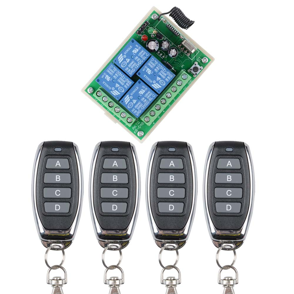 DC12V 10A 4 Channel RF Wireless Remote Control  Switch/Radio Controlled Switch System Receiver&TransmitterDC12V 10A 4 Channel RF Wireless Remote Control  Switch/Radio Controlled Switch System Receiver&Transmitter