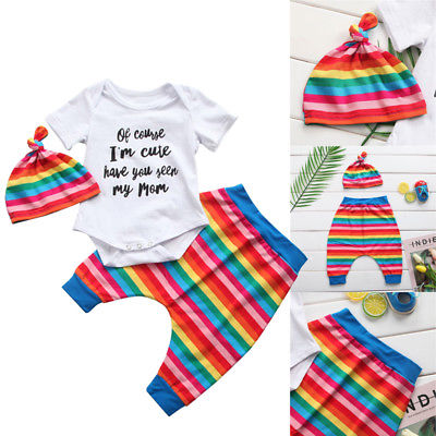 US Newborn Baby Boy Girl Rainbow Romper+Leggings Pants+Hat Outfit Cotton Clothes