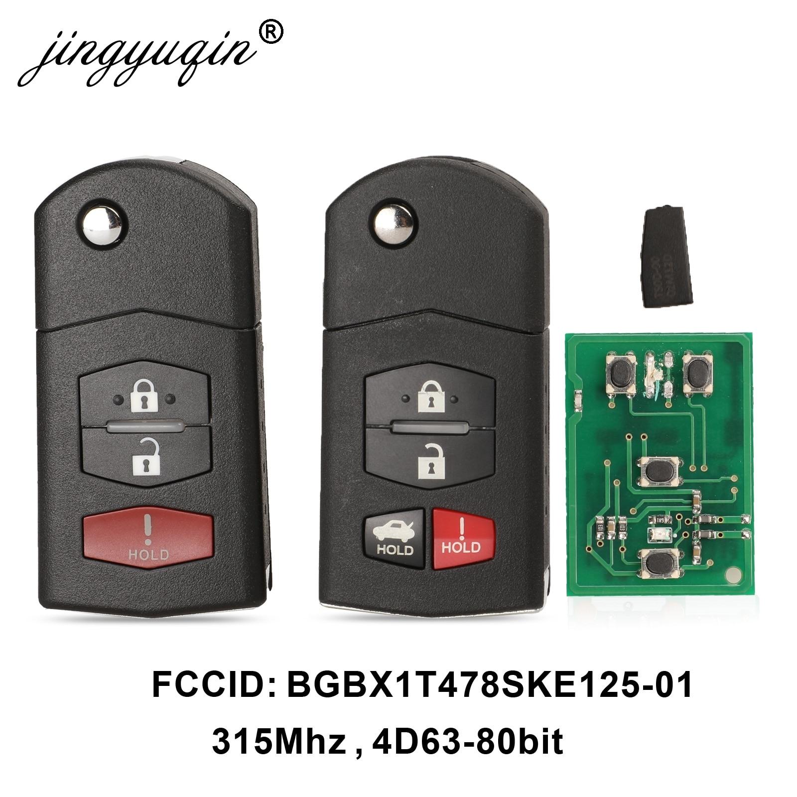 Jingyuqin 3/4 Buttons Remote Folding Car Key 315Mhz For Mazda 3 5 6 CX-7 CX-9 MX-5 Miata BGBX1T478SKE125-01 4D63 Chip Fob