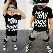 цена на Summer Kids Baby Boy Clothes Boys Outfits Sets Grey Short Sleeve Tops Mini Boss Letter T-Shirt + Grey Pants Black Stripe