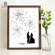 The Newlyweds Hand In Hand Under The Pretty Fireworks Free Name And Date Fingerprint DIY Guestbook For Wedding Party Decoration