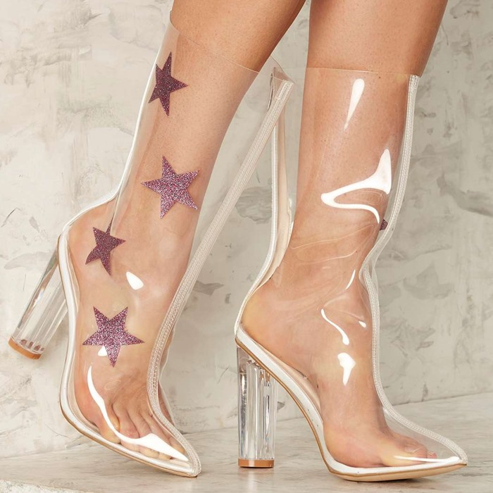 Women PVC Transparent Star Pattern Decoration Mid-Calf Boots Lady Spring Autumn High Heel Design Shoes Female Pointed Toe Boots yanicuding round toe women mid calf boots short booties flower butterfly knot design super star lady runway shoes european style