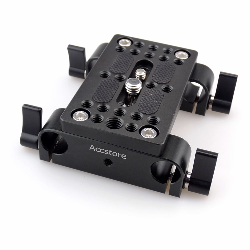ACCSTORE Camera Quick Release Mounting Plate Tripod Mounting Plate with 15mm Rod Clamp Railblock for Rod