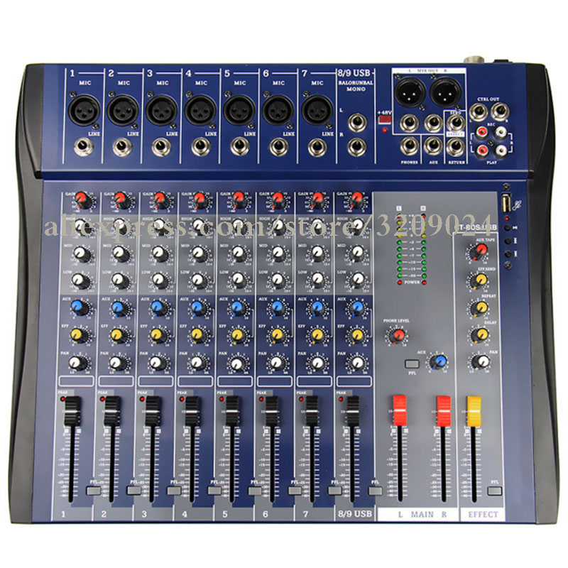 Professional 8 Channels Mixer with Effects with USB Playback Console Karaoke KTV Studio Microphone