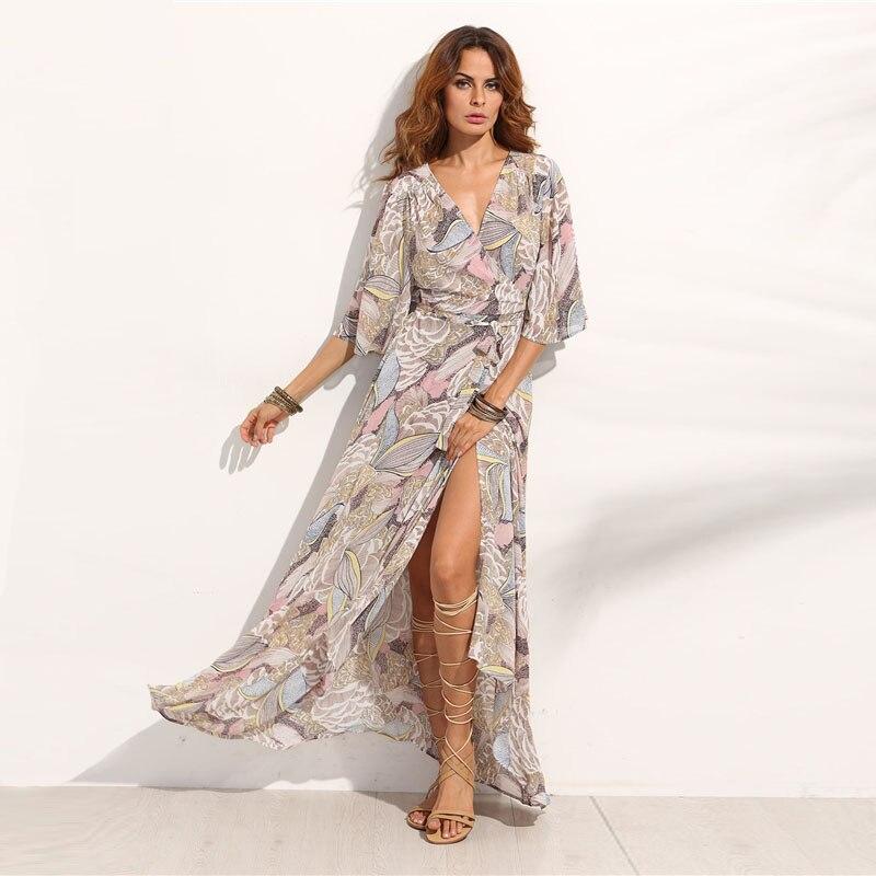 COLROVIE Floral Print Maxi Chiffon Dress Women V Neck Half Sleeve Wrap A Line Beach Sexy Dress 2018 Summer Beach Boho Long Dress 7