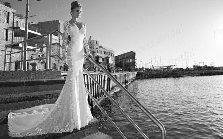 Free Shipping Sexy Mermaid Sweetheart Neckline Backless Court Train Long Sleeve Open Back font b Wedding