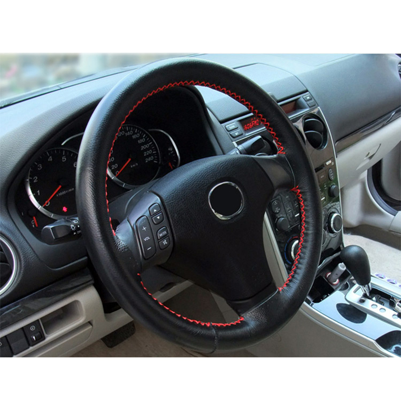 Universal Car Steering Wheel Cover Genuine Leather Stitch On Wrap Black