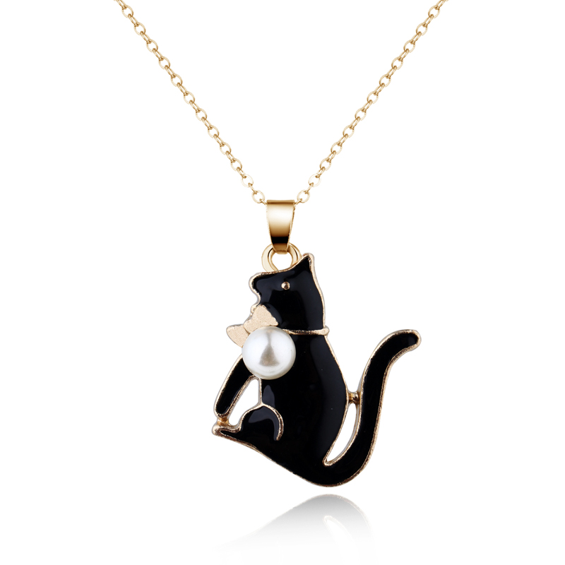 1pc Fashion Enamel Metal Imitation Pearl Cat Pendant Necklaces For Womens Chic Animal Clavicle Short Chain Choker Jewelry Gifts 4