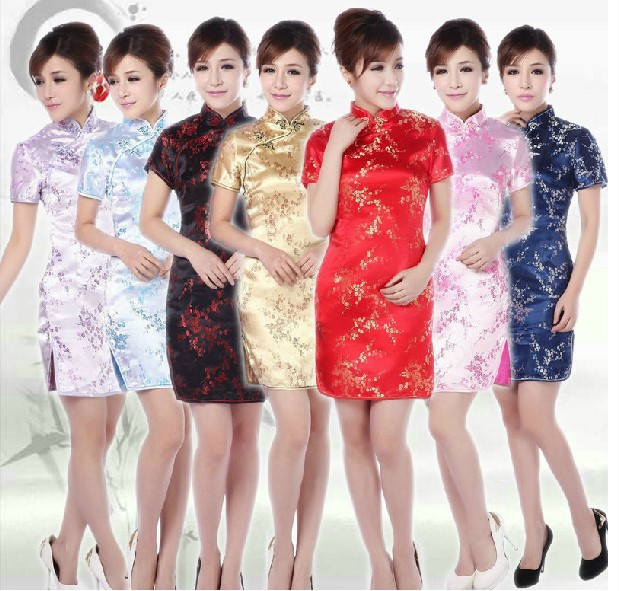 New cheongsam Qipao women sexy dress Chinese New Year party slim evening dresses chi-pao clothing gown