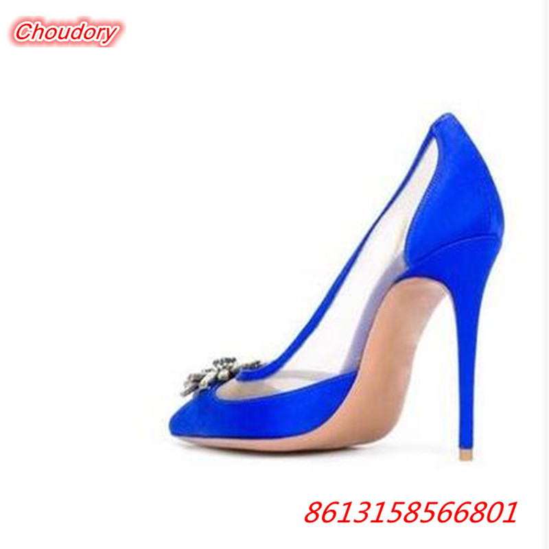2017 Mixed Color bling Crystal font b Women b font Pumps Thin High Heels Pointed Toe