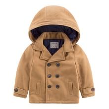 Маленький мальчик с капюшоном стеганые пальто зима новый дети дети двойной грудью пальто мальчики теплое пальто