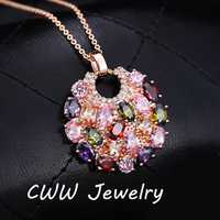 European Style Multi Color Swiss CZ Stone Paved Round Vintage Antique Long Bohemian Pendant Necklaces For