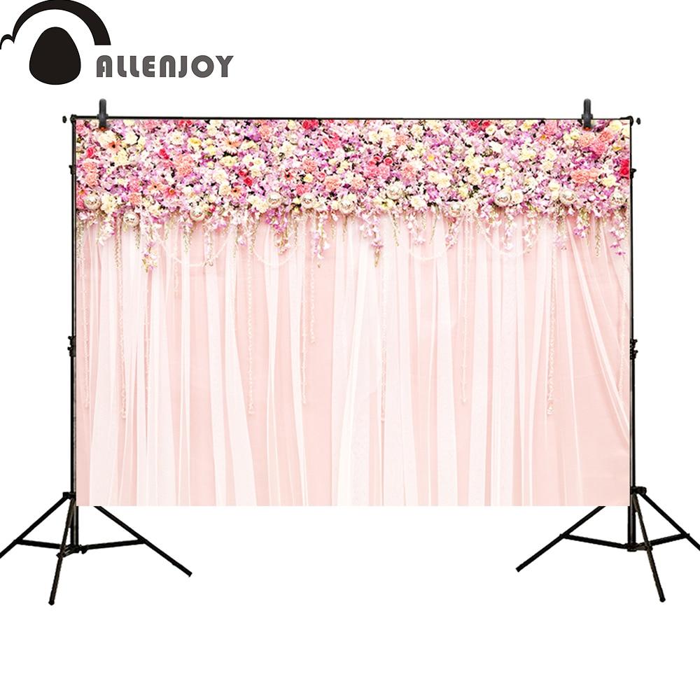 Cenários de fotografia Allenjoy festa de casamento floral rosa Flor cortinas de parede amor Bridal shower banner photo studio