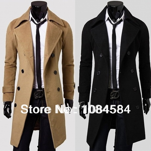 e1ea6094a26 New Brand mens long pea coat Men s wool Coat Turn down Collar Double  Breasted Formal men trench coats Plus Size Winter Coat-in Wool   Blends  from Men s ...