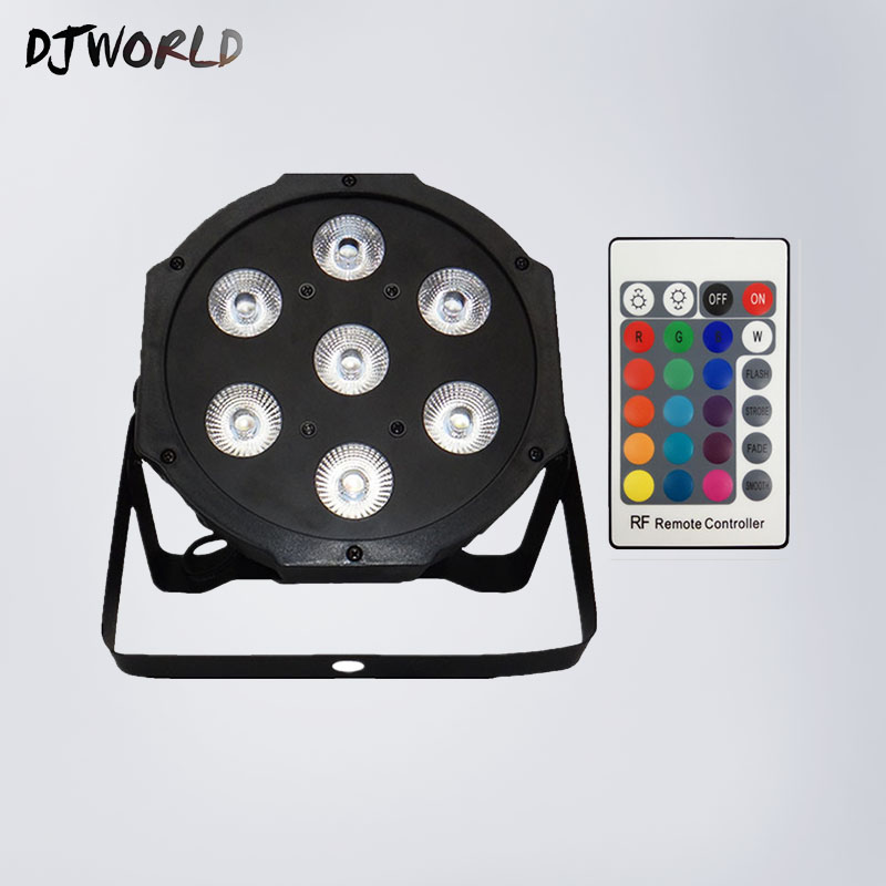 Wireless Remote Control LED  Flat Par 7x12W RGBW Lighting DMX512 Control Disco Lights Professional Stage DJ Equipment