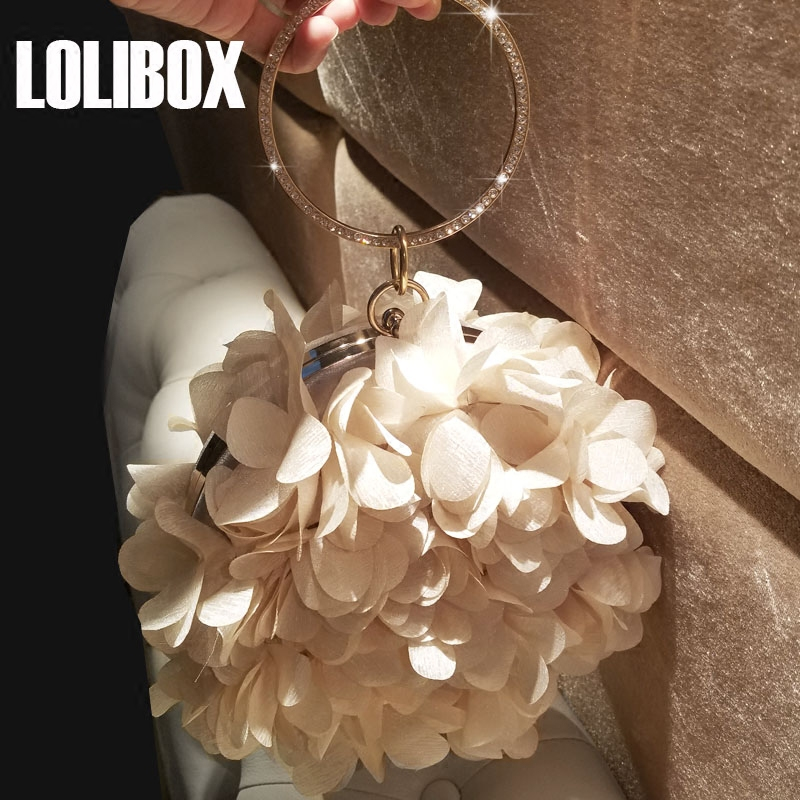 LOLIBOX New Day Clutches Round Handbags Chiffon Petal Diamond Women Clutches Purses Ring Handdle Ladies Clutch Evening Party Bag