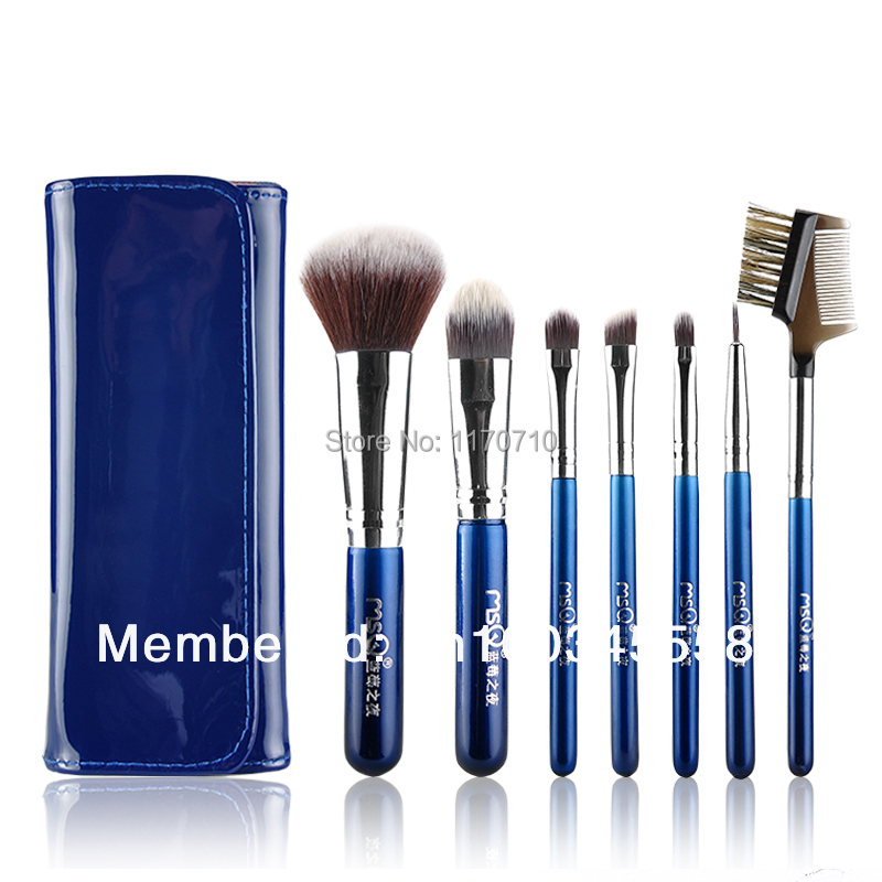 FREE SHIPPING! Best Quality Synthic Hair Professional Makeup Brush Set 7PCS/Set Including a Pu Leather Bag! недорого