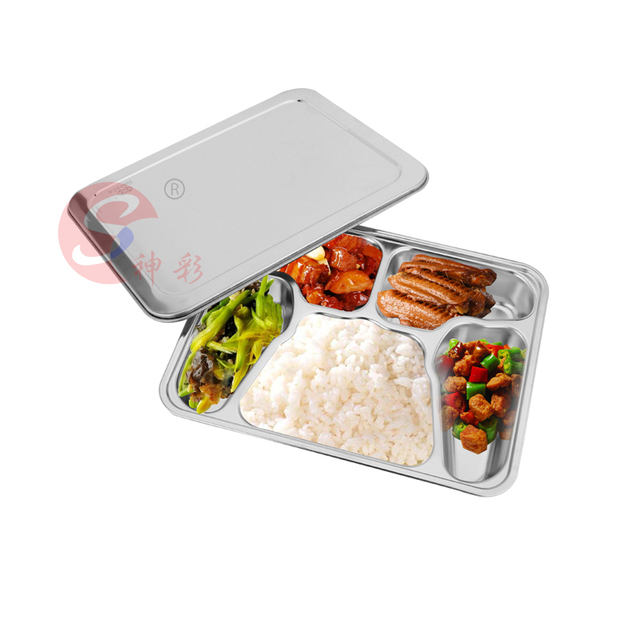 5 Compartment Stainless Steel Food Storage Container With Lid Divided Plate  Lunch Box