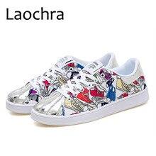 LAOCHRA Men Design Vulcanize Shoes Lace Up Spring Autumn Graffiti Shoes For Youth Comfortable Fashion Men Shoes Big Size 46 Flat