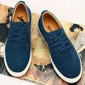 7 Cores Novos Homens Plus Size Sapatos Baixos Sapatos Casuais Sapatos de Couro homens Da Moda Suede Lace UP Men Flat Shoes Zapatos Hombre Tamanho 45.46.47