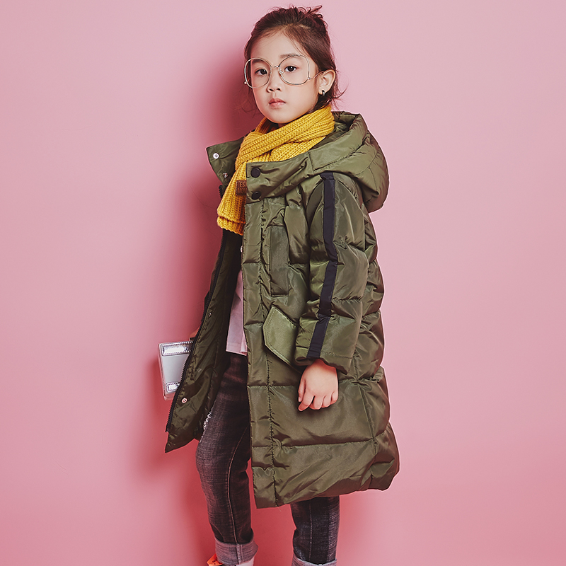 YH-1810 fashion Winter Girl Medium Long Children Duck Down Jacket Thick Coat Keep Warm Hooded Teenage kids parka Boy Outerwear встраиваемый светильник novotech farfor 369865