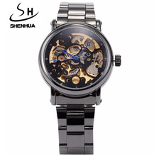 Black Automatic Mechanical Skeleton Watches Men SHENHUA Luxury Brand Steampunk Mechanical Wrist Watches Men relogio masculinos
