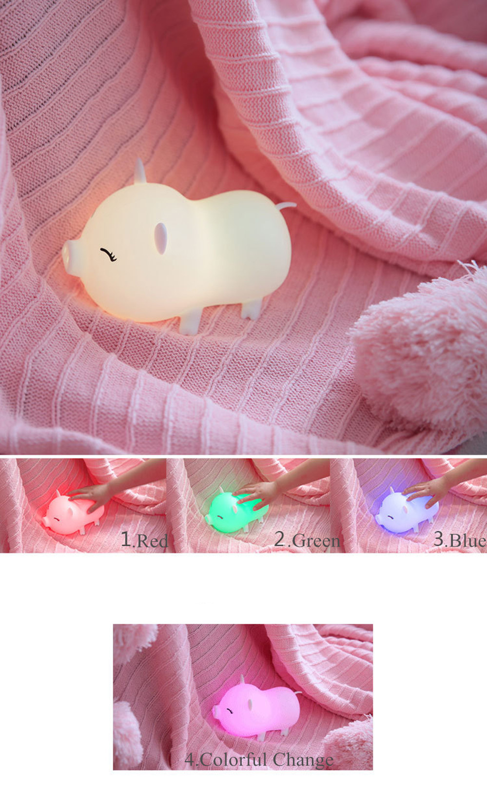 SuperNight Cute Pig LED Night Light Rechargeable Colorful Silicone Animal Touch Sensor Table Lamp Baby Kids Bedroom Bedside Lamp (7)