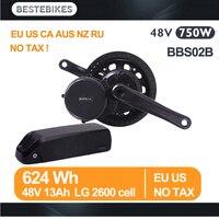 Bafang мотор BBS02B 48 В 750 Вт середине приводной двигатель 48v13ah LG2600 литиевая батарея Комплект ЕС США CA AUS русский NZ нет налога