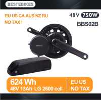 Bafang motor BBS02B 48V 750w mid drive motor 48v13ah LG2600 lithium battery kit EU US CA AUS RUSSIAN NZ no tax