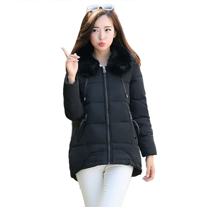 2016 sonbahar ve kış kadın parkas ceket Kore büyük kürk yaka pamuk-yastıklı düzensiz gevşek kış aşağı sıcak giysi 7863