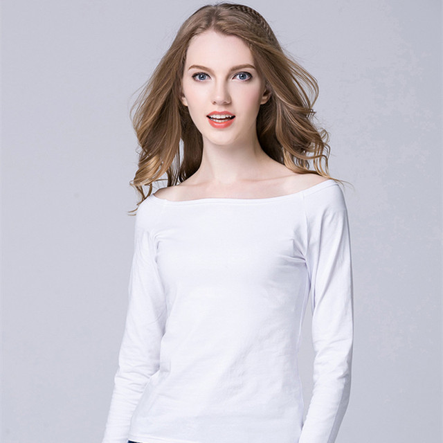 62a813bde Casual White Women Shirt Ladies Solid Elegant Sexy Neck Tops Long Sleeve  Boat Neck Shirts Plus Size