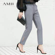 Amii Women Minimalist 2018 Pants Office Lady Chic Port Ulzzang Straight Button Fly Female Trousers
