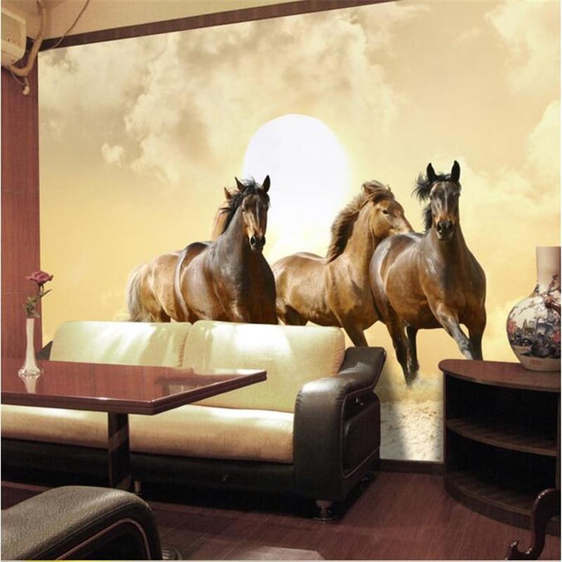 US $12.8 |Hohe qualität tuch fototapete 3d perspektive galoppierendes pferd  hotel schlafzimmer wohnzimmer sofa malerei wandbild tapete-in Tapeten aus  ...
