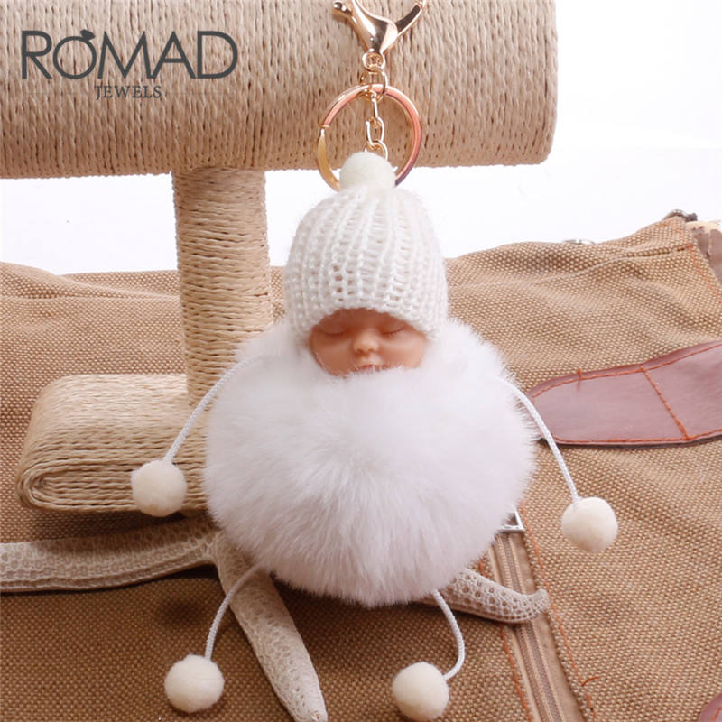 ROMAD Fashion Sleeping Baby Doll Keychain Pompom Rabbit Fur Ball Car Baby Toy Key Chain Women Key Holder Bag Pendant R4