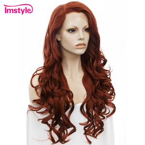 Image 2 - Imstyle Red Wig Lace Front Wigs For Women Long Wavy Synthetic Lace Front Wig Heat Resistant Fiber Glueless Cosplay Ginger Wigs