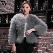 Womail, новинка, модное женское мягкое меховое пальто из искусственного меха страуса, пушистая зимняя куртка Xmax no30