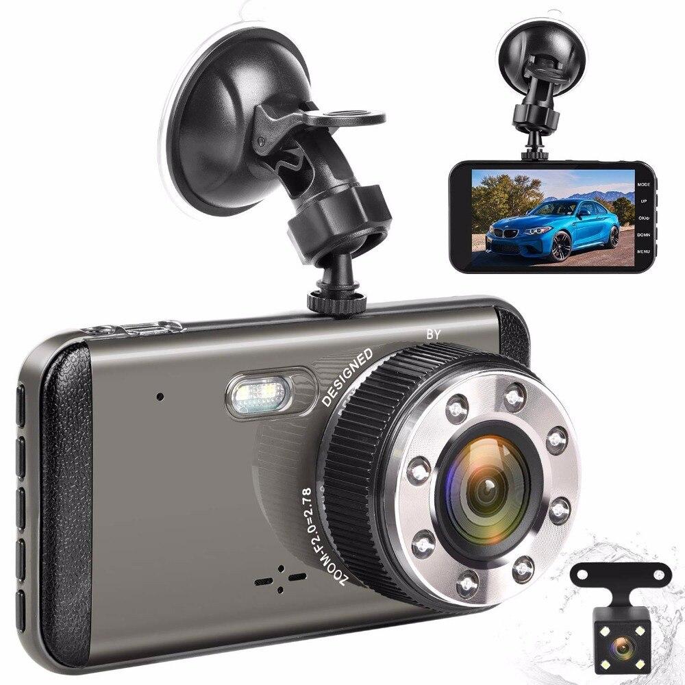 4 IPS Dual Lens Car Dash Cam FHD 1080P 170 Degree Dashboard Camera Vehicle DVR Recorder