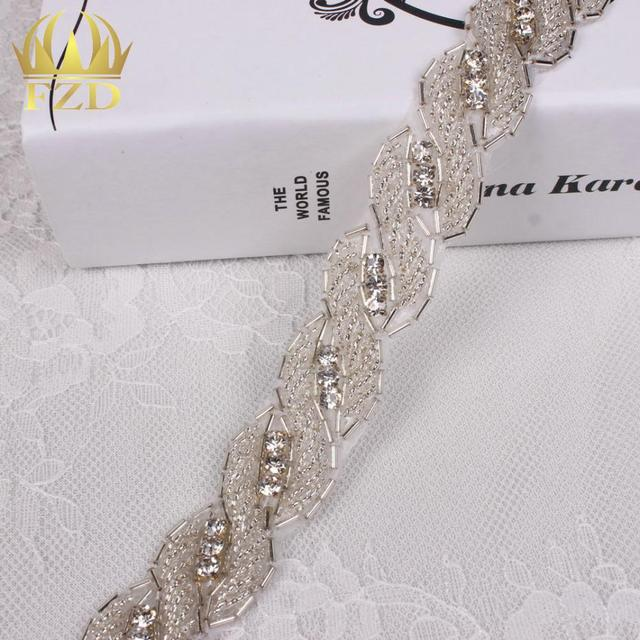 (10yards) Wholesale 1 Yard Sewing Hot Fix Bling Wedding Dresses Bridal  Garters Sash Beaded 4c8f93c9b300