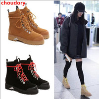 2017 Winter Ankle Boots Women Suede Leather Lace Up Thick Heel Martin Boots High Quality Ladies