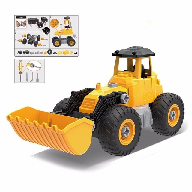 kids bulldozer truck car toy diy pretend play set assemble transform