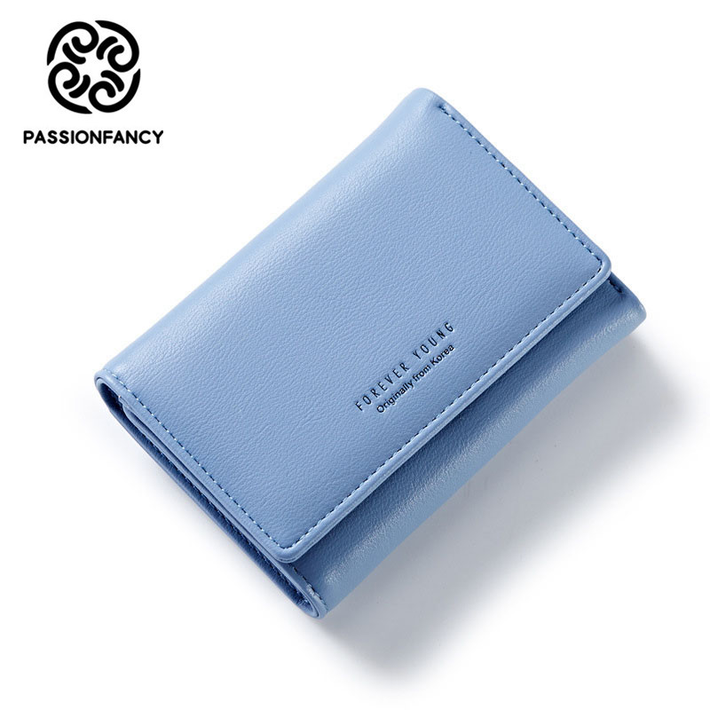 2017 Women Leather Wallet Fashion Lady Portable Tri fold Multifunction Short Solid Color Change Purse Hot Female Clutch Carteras new women fashion leather hasp tri folds wallet portable multifunction long change purse hot female coin zipper clutch for girl
