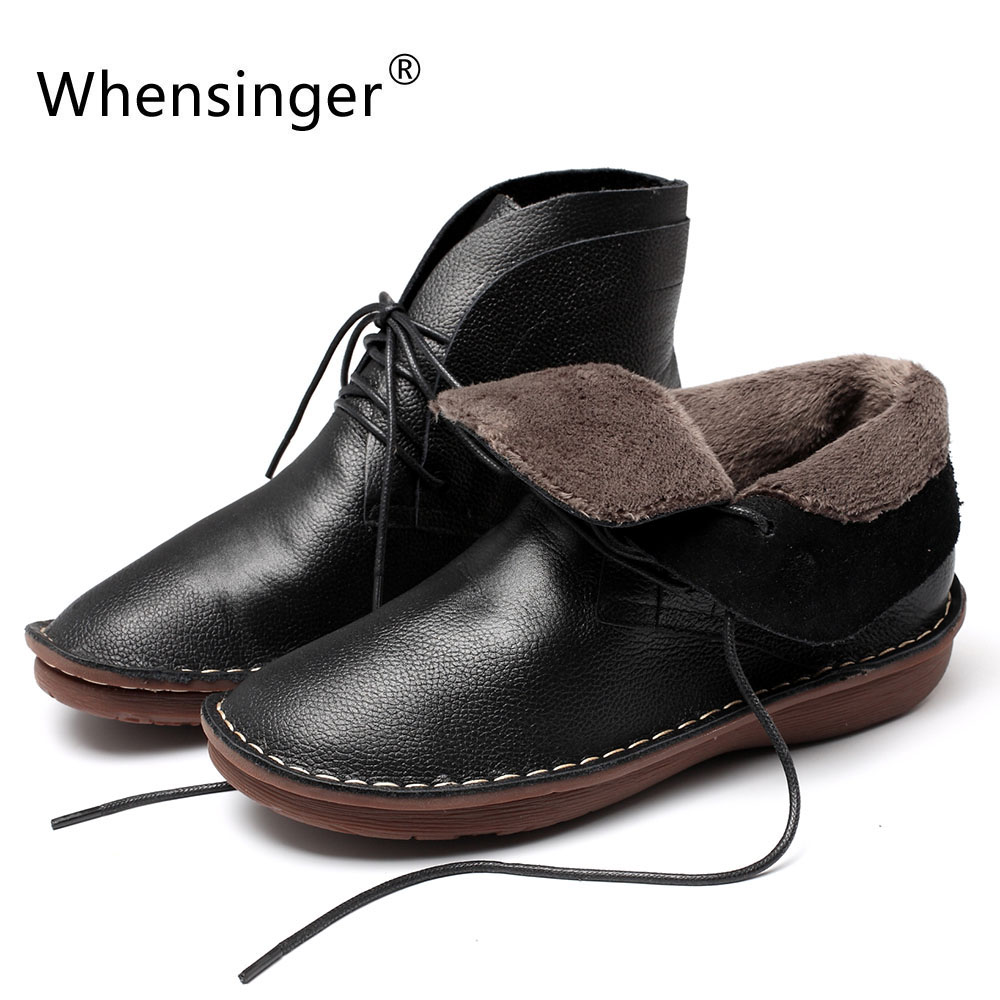 Whensinger - 2018 New Winter Women Shoes Genuien Leather Lace-Up Design Warm Short Plush Inside 0503A