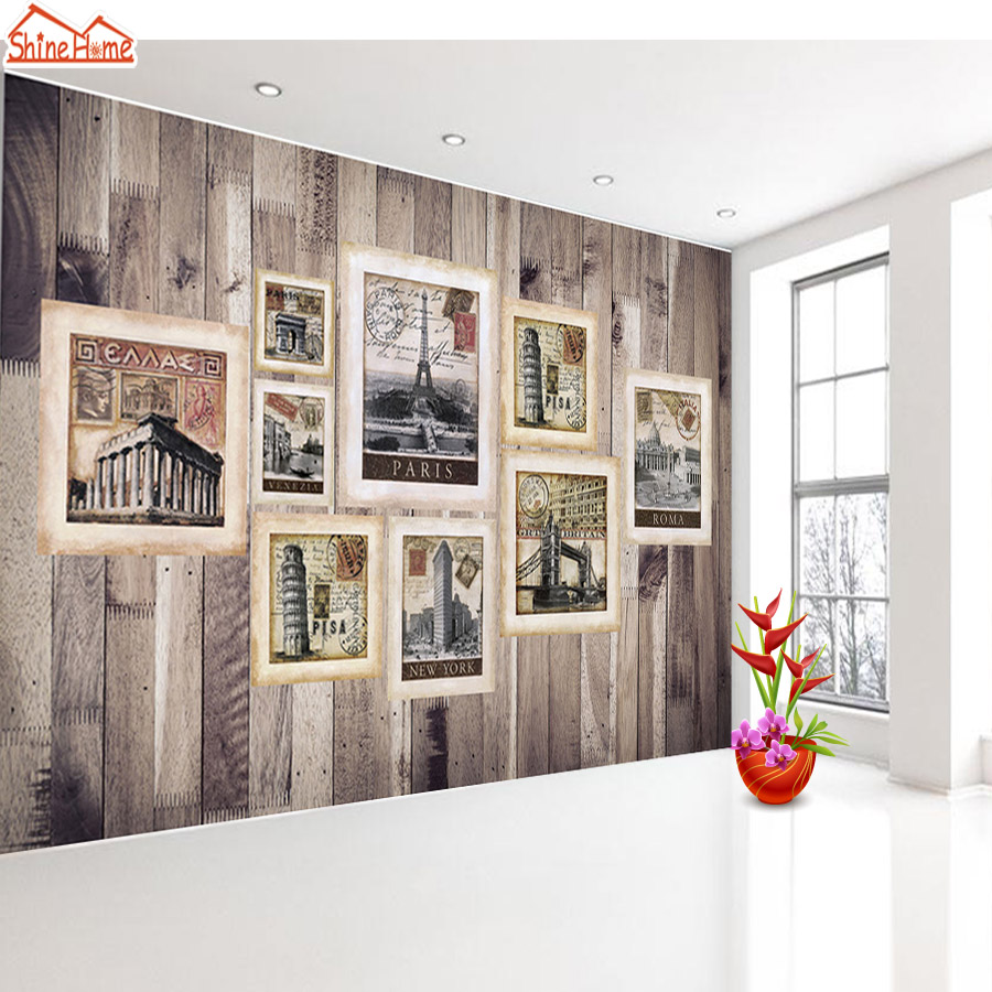 ShineHome-Custom 3D Wall Murals Photo Frame Wallpapers for Walls European City Contact Paper Bedroom Living Room Roll-Size shinehome lovely lily blossom flower wallpaper for bedroom murals roll for 3d walls wallpapers for 3 d living room wall paper