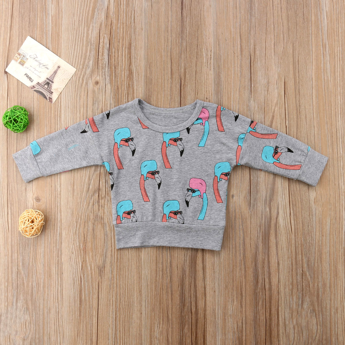 b9abbec64 2018 Newborn Baby Boys Girls Flamingo Sweatshirt Coat Jacket Sweater ...
