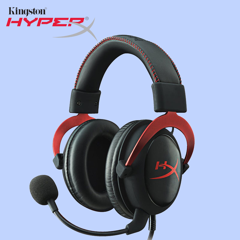 Kingston HyperX Cloud II Headset Hi-Fi 7.1 Surround Sound Gaming Headphone with Microphone 3.5mm For Computer Cellphone Earphone each g8200 gaming headphone 7 1 surround usb vibration game headset headband earphone with mic led light for fone pc gamer ps4