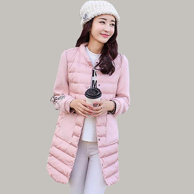 Algodão Acolchoado Jaquetas Mulheres Gola 2016 Novo Longa De Lã Costura Jaqueta de Impressão Moda Inverno Parka Longo-sleeved JA572